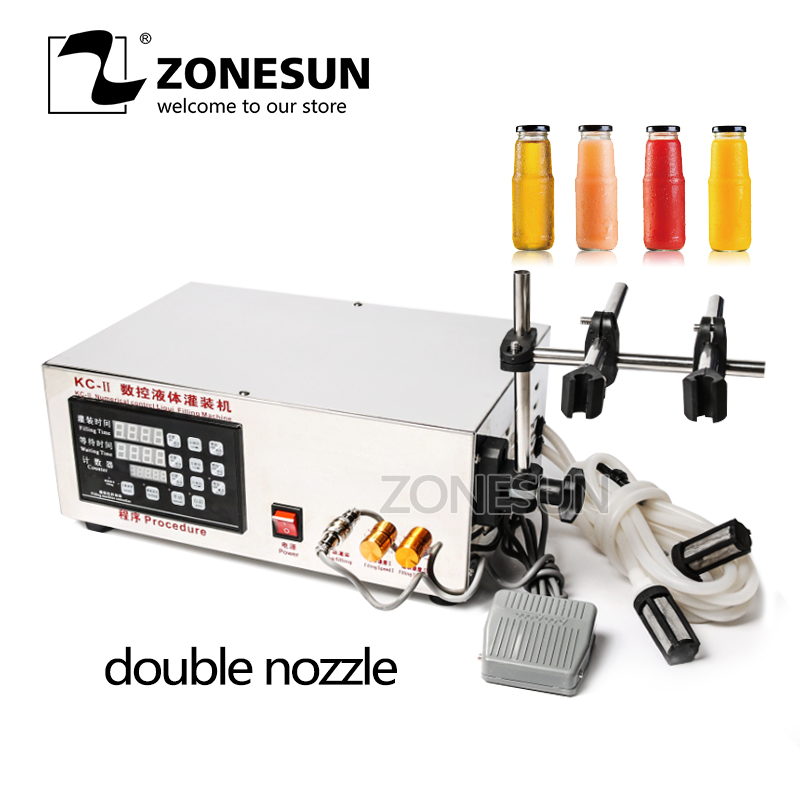 ZONESUN Double Head Liquid Filling Machine Microcomputer Automatic Water Liquid Filling Machine 5-3.5L