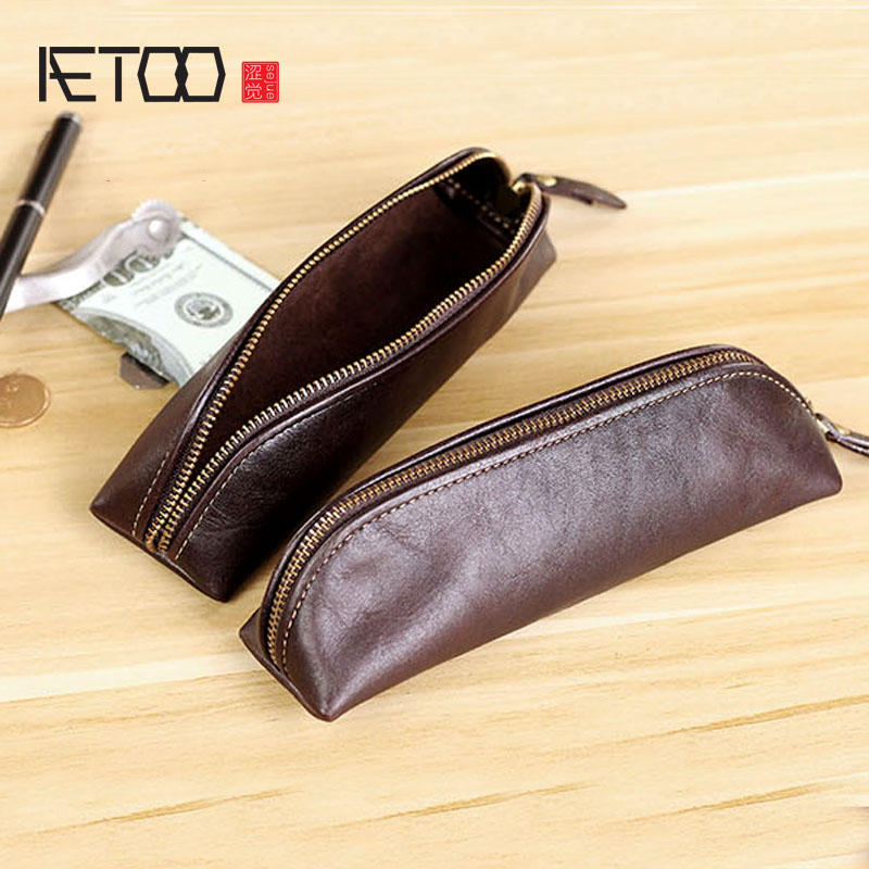 AETOO Original Handmade Leather Pencil Bag First Layer Cowhide Handmade Pencil Bag Retro Casual Stationery Bag Soft Cowhide