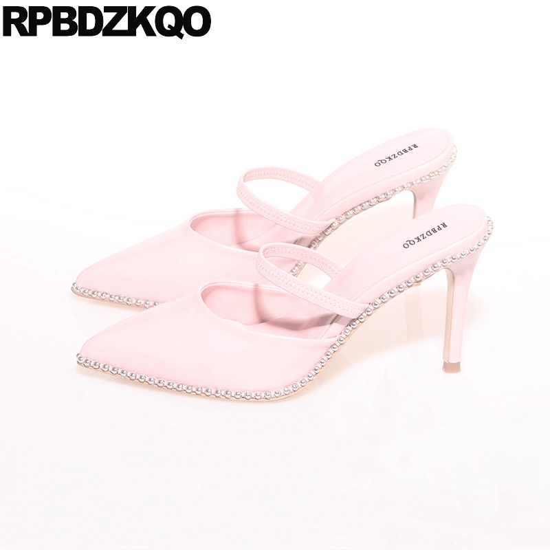 35f0df3b07fe Pink Mules Slipper Strap Metal Italian Sheepskin Shoes Women Pointed Toe  Genuine Leather High Heels Pumps