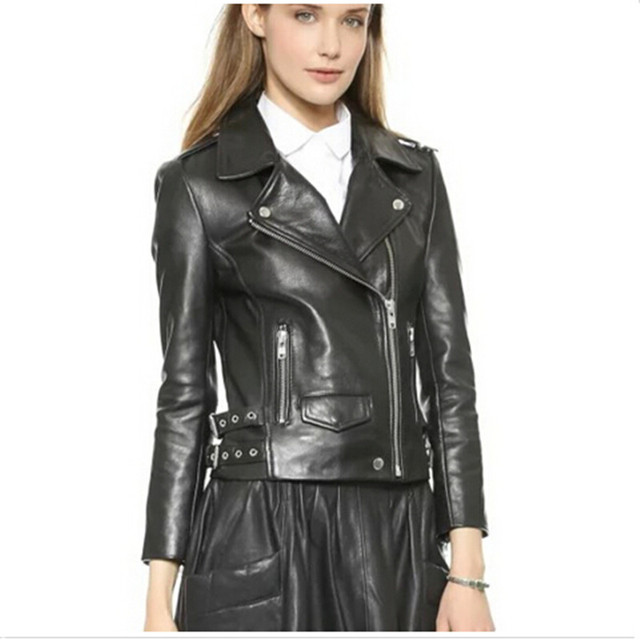 fashion pink sky blue women leather jacket bomber motorcycle Leather  jackets women 3 color brand leather coat jaqueta couro c552b1b77