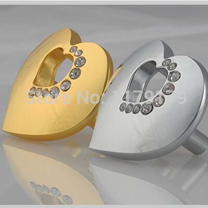 ▽16mm oro amor corazón muebles perilla cristal cocina cajón armario ...