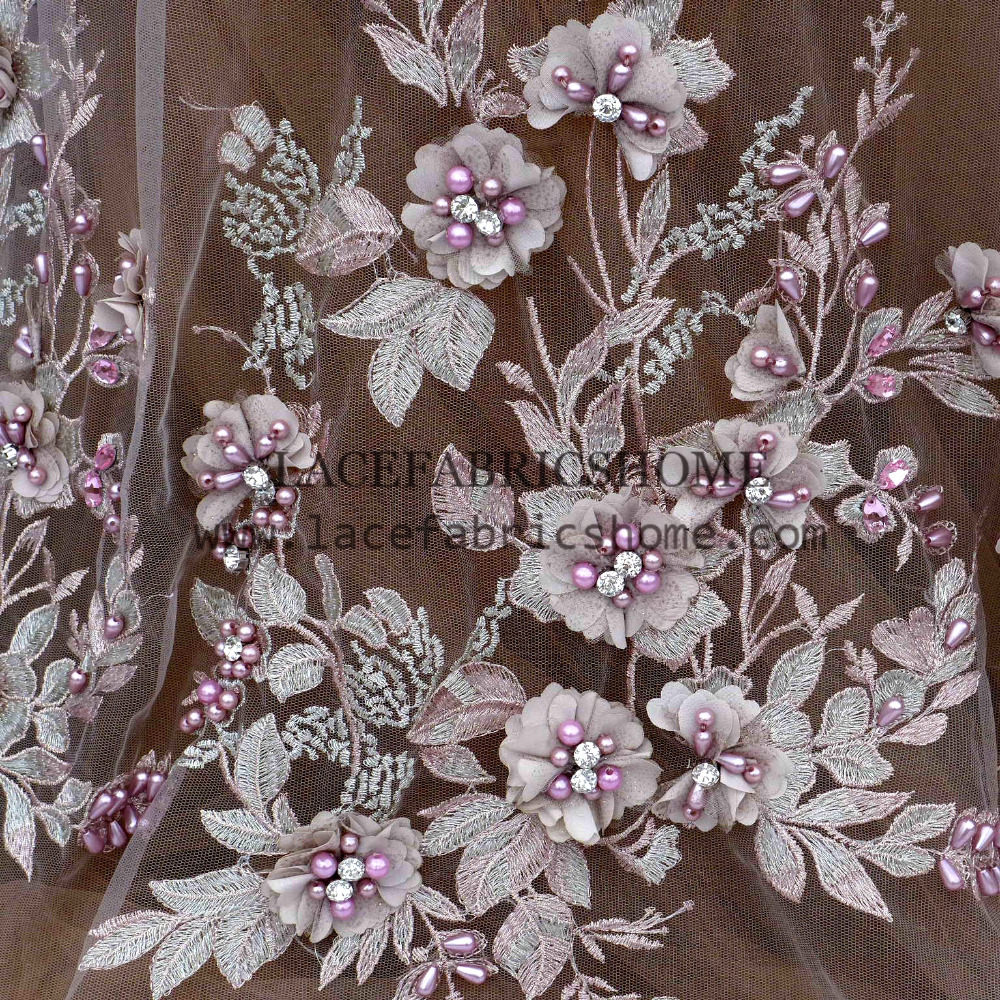 1yard New fashion style yellow beige gray pink heavy beads 3d flowers on netting embroidery wedding