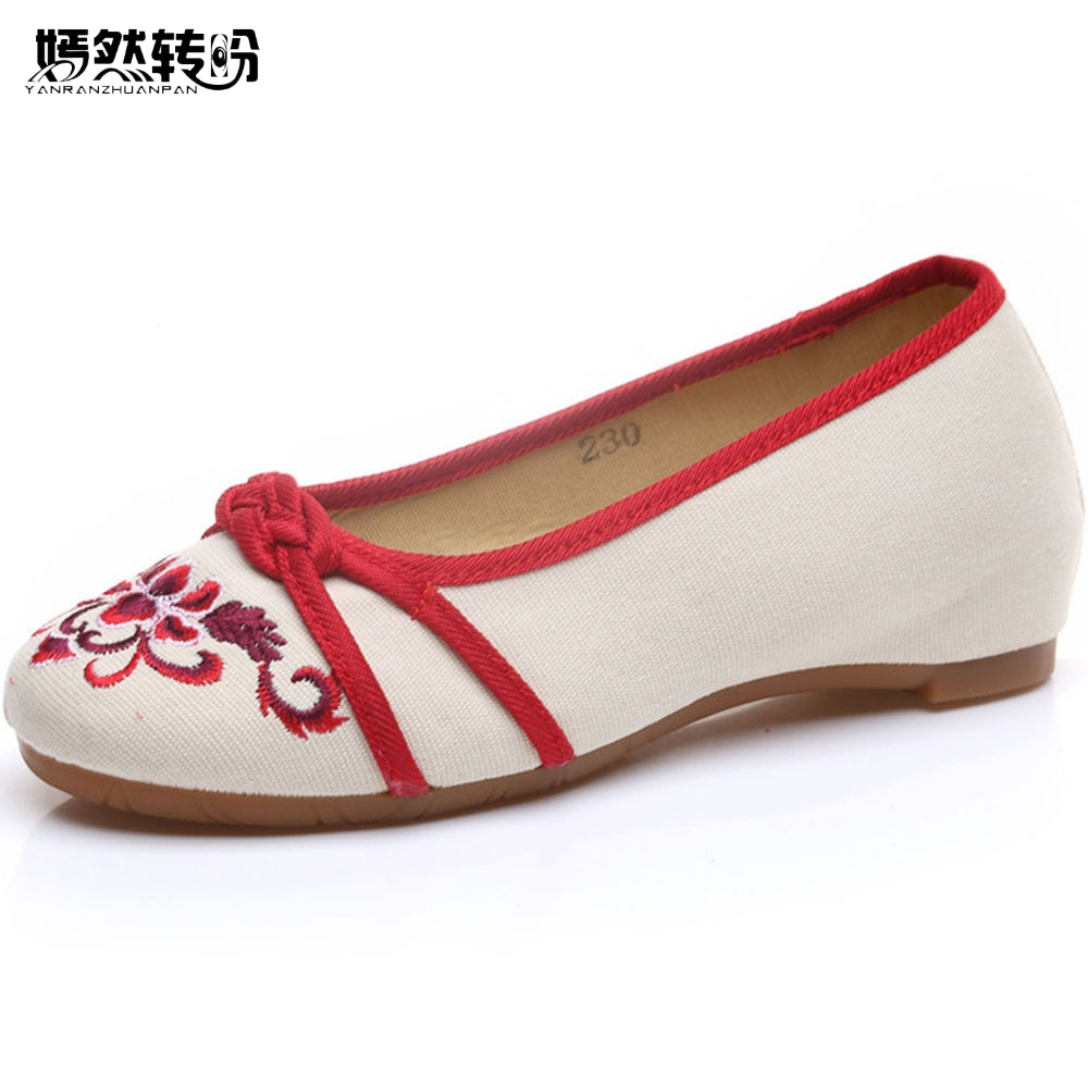 Vintage Women Flats Embroidery Shoes Chinese Knot Old Beijing Singles Shoes Woman Canvas Dance Ballet Flat Zapatos Mujer women flats old beijing floral peacock embroidery chinese national canvas soft dance ballet shoes for woman zapatos de mujer
