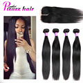 7A Brazilian Virgin Hair With Closure 4 Bundles Human Hair Rosa Hair Products With Closure Brazilian Straight Hair With Closure