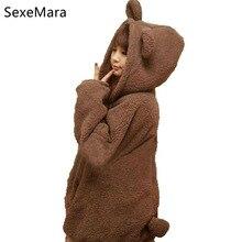 Super Cute Warm font b Women b font gardigan oodies Girl Winter Loose Fluffy Bear Ear