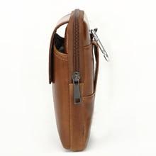 Genuine Leather Men's Mobile Phone Waist Bag