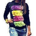 Factory Price! Fashion Thin Women Long Sleeve Fresh Hamburger Printed Tops Casual Hoodies Sweatshirt Tops