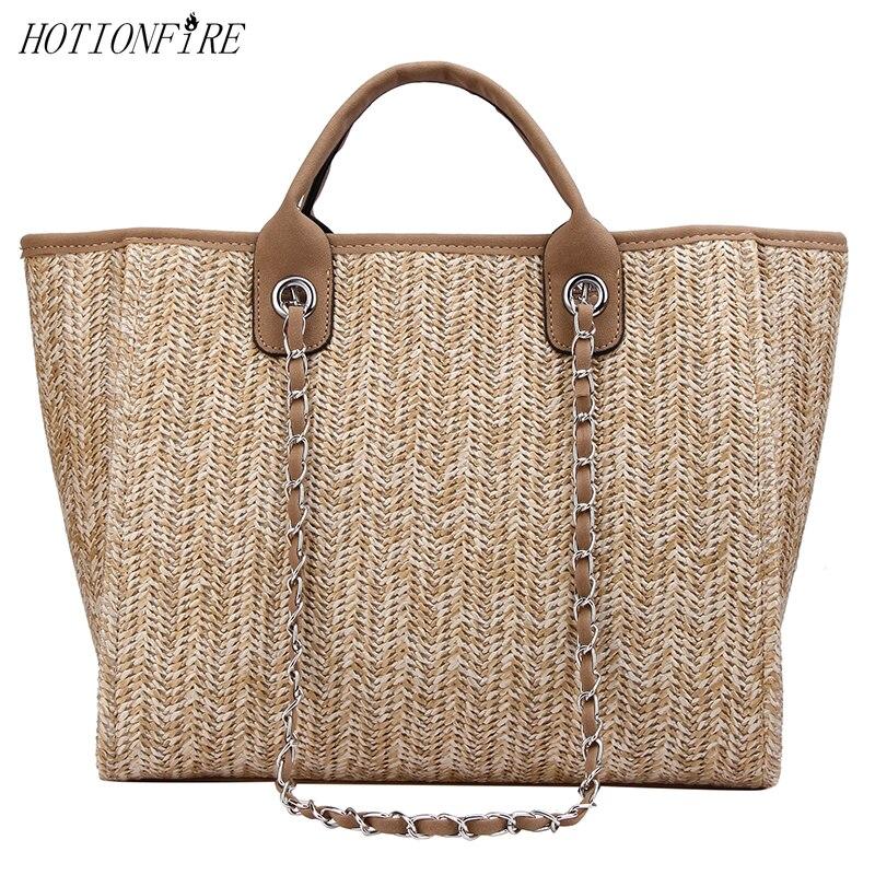 Sac d'été pour femmes nouveau Style grande capacité chaîne une épaule mode de luxe Designer Simple herbe tissé sac fourre-tout sac à main