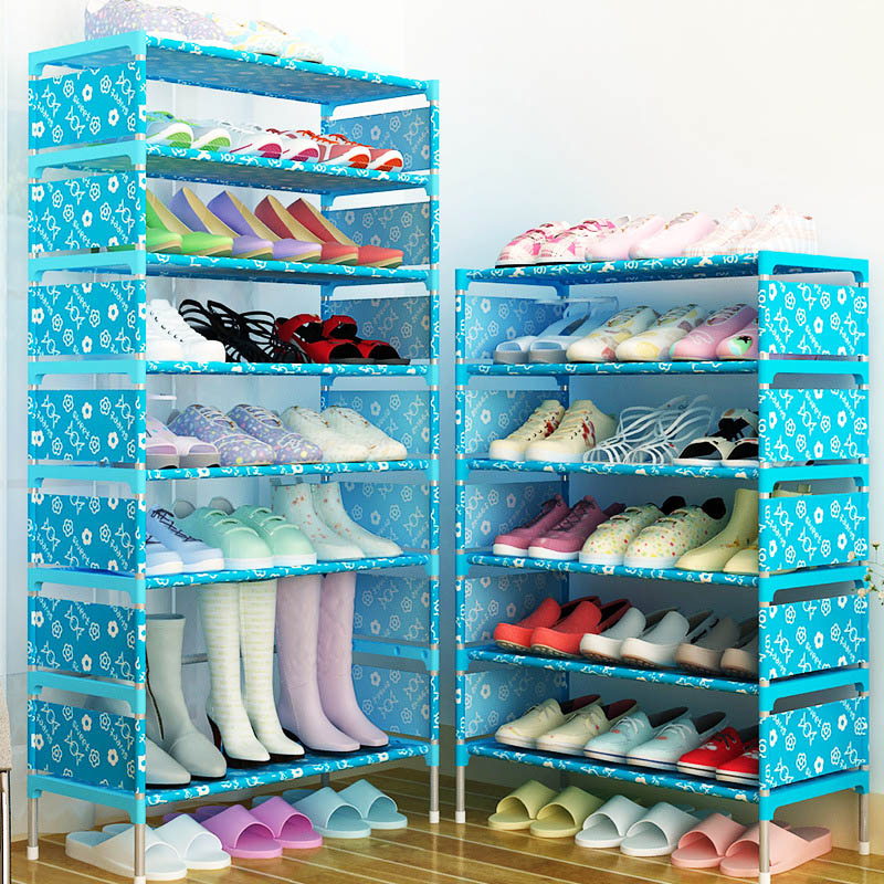 Multilayer Shoe Rack Nonwovens Easy to install Shoe cabinet Shelf Storage Organizer Stand Holder Space Saving 35-color Furniture continental iron shoe multilayer simple stainless steel dust storage shoe iron shoe rack folding shelves