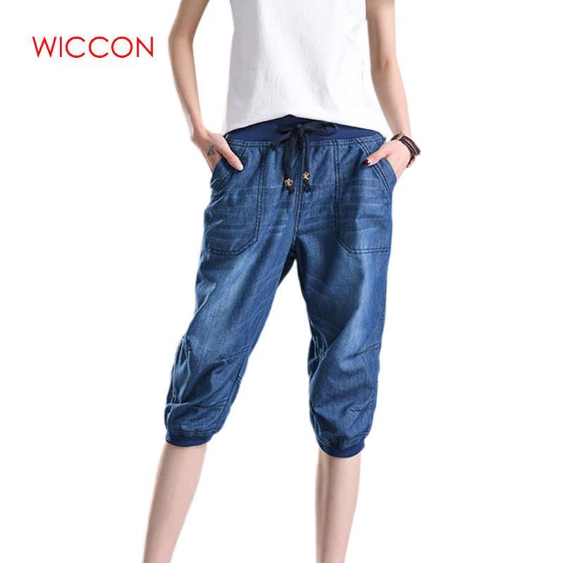 Summer Women Harem Pants Jeans Plus Size Loose Trousers Female Denim Pants Capris Jeans 4XL Plus Size Casual Pants