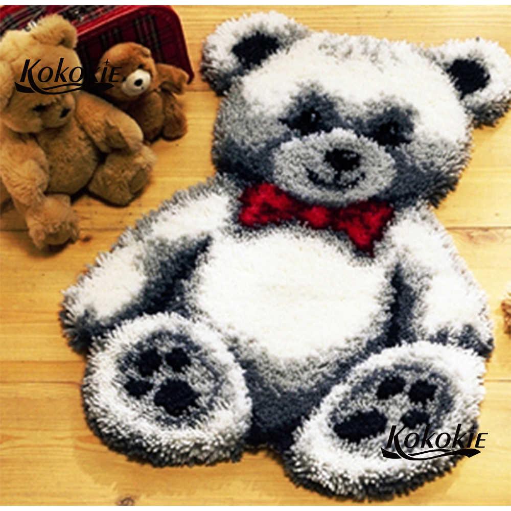 Медведь защелки крюк комплект коврика холст печать vloerklee foamiran для рукоделия handwerken нооп иглы для вязания крючком для ковра вышивка