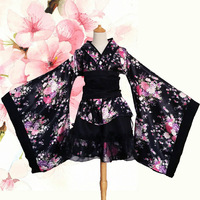 Anime Cosplay Lolita Flower Print Halloween Fancy Dress Japanese Kimono Costume Black And Red