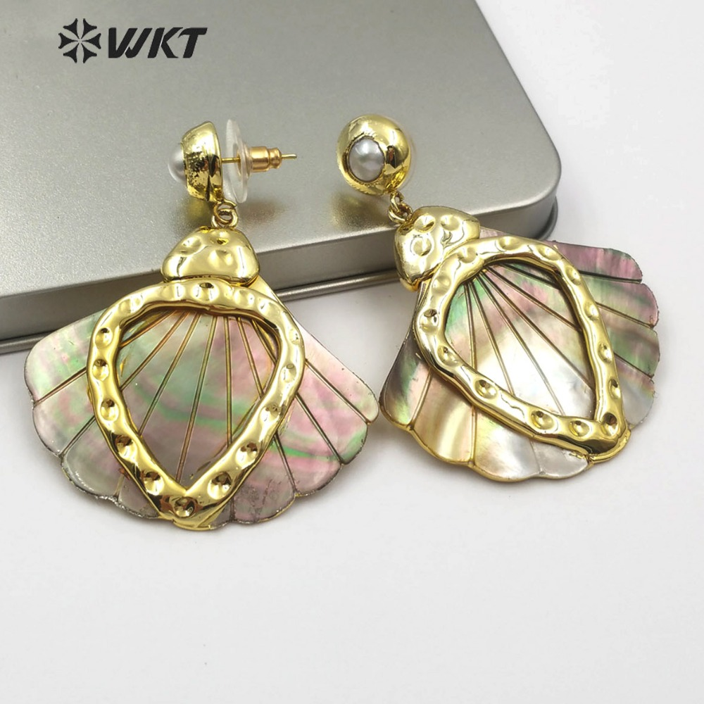 WT E500 New Arrival!Natural Pearl Earrings and Metal Heart Shaped Decorative Fan Shell Jewelry Earrings for Women-in Drop Earrings from Jewelry & Accessories    1