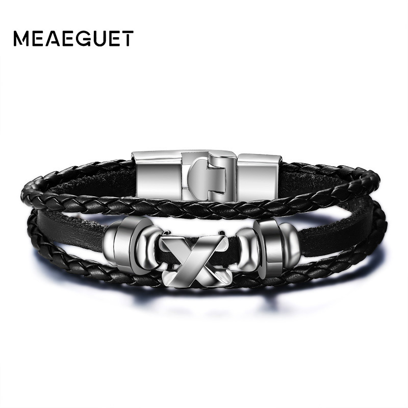 Fashion Design Multilayer Buckle Cowhide Leather Bracelet Wrap Around JMB