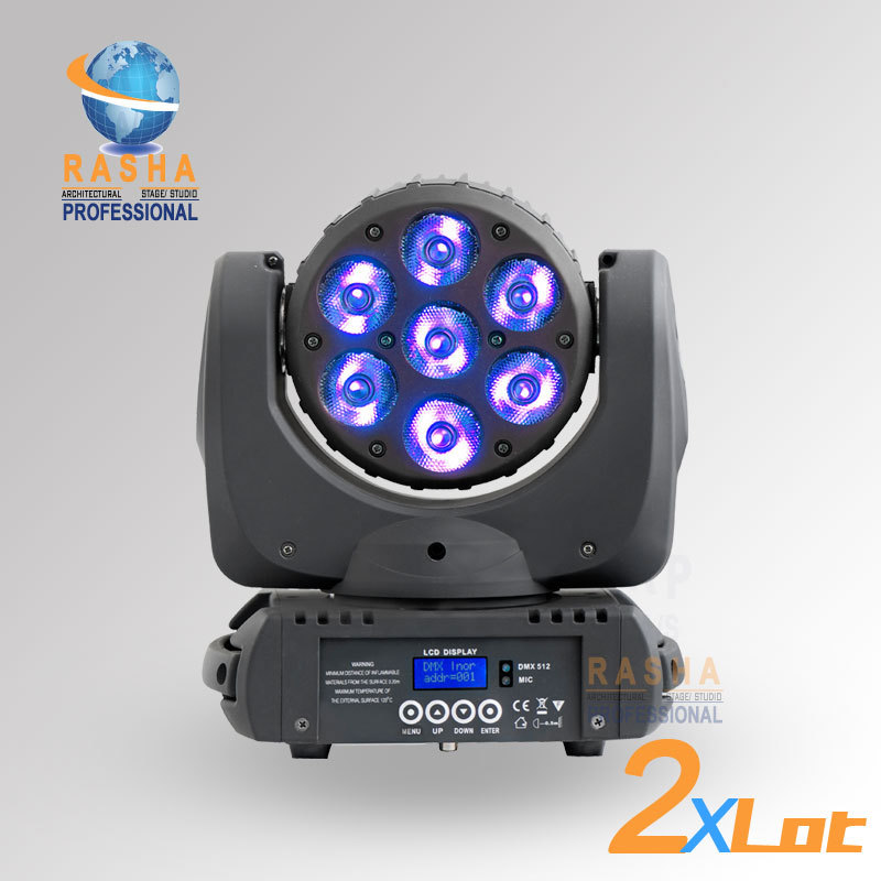 2X LOT HOT SALE 7pcs*12W LED Moving Head Light RGBW 4in1 LED Moving Head Beam Super Sharpy Beam Light With LCD Display Powercon