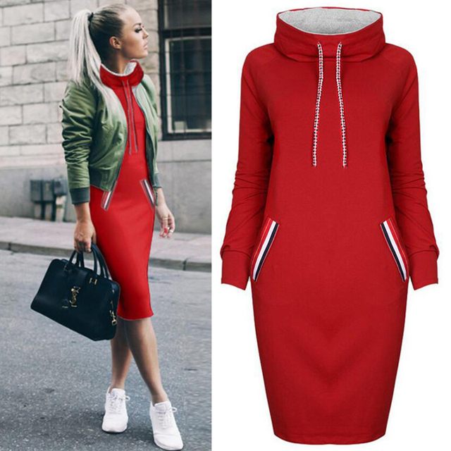Rimiut New Arrival Autumn Winter Warm Dress 6 Colors Women Pockets Hoodies Sweatshirt Female Slim Hoody Dress