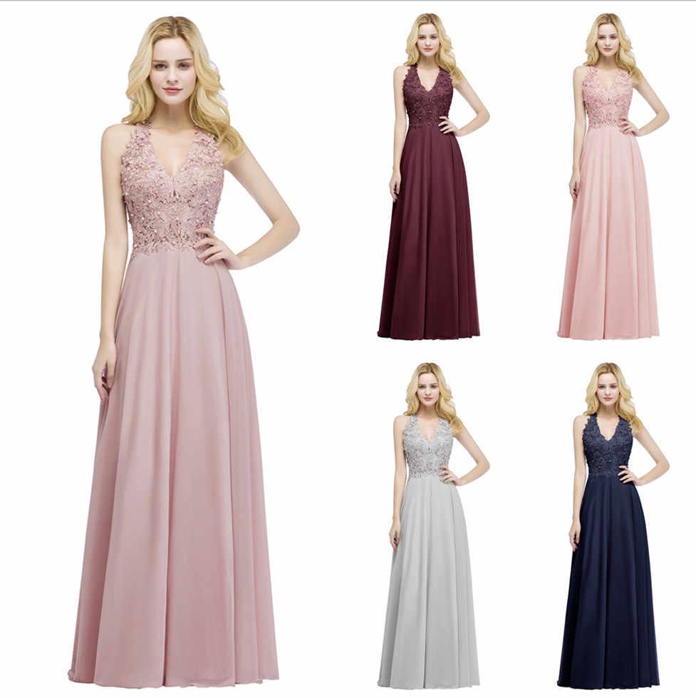 502803391 Babyonline Sexy cuello en V Apliques de encaje Rosa largo vestidos de noche  2019 perlas sin