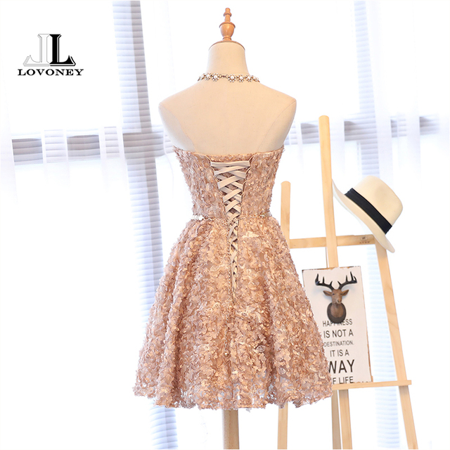 LOVONEY XYG702 A-Line Sweetheart Short Prom Dresses 2019 Sexy Backless Lace-Up Knee-Length Party Dresses Prom Gown Real Photos 2