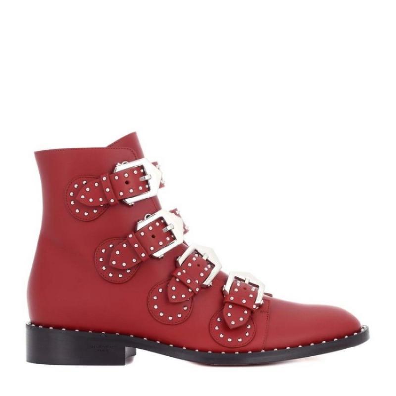 Boucle As De Rouge Rivets as Cheville Femmes Combat Bottes Designer Chaussures Picture Picture Luxe 2018 Militaire Clouté Court Sangle Cowboy Baw6a