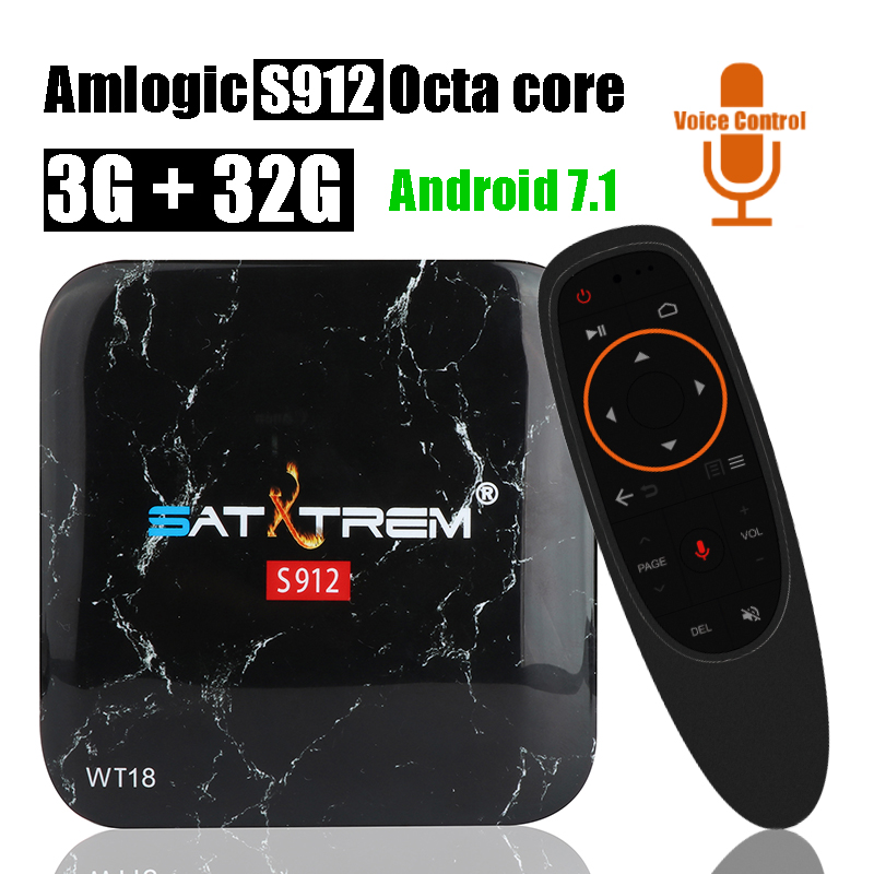 Satxtrem WT18 ATV Voice Control 3GB 32GB Smart Android TV Box Amlogic S912 Octa Core Set Top Box Wifi BT 4.0 4K HD Media Player 10pcs vontar x92 3gb 32gb android 7 1 smart tv box amlogic s912 octa core cpu 2 4g 5g 4k h 265 set top box smart tv box