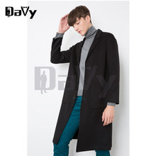 2017 Winter Customized wool Black coat men long woolen coats Mens Casual Fashion Jacket casaco masculino palto peacoat overcoat