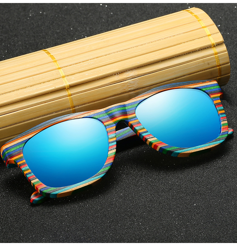 Rainbow Bamboo Polarized Sunglasses