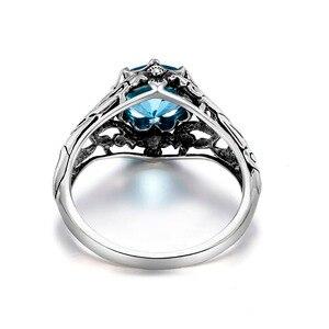 Image 3 - Szjinao Sky Blau Aquamarin Ring 925 Silber Für Frauen Punk 2,1 ct Vintage Edelstein Hochzeit Engagement Luxus Marke Edlen Schmuck