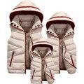 2016 Новый осень зима дети семья костюм случайные отец матери и ребенка жилет пальто без рукавов с капюшоном семьи верхняя одежда