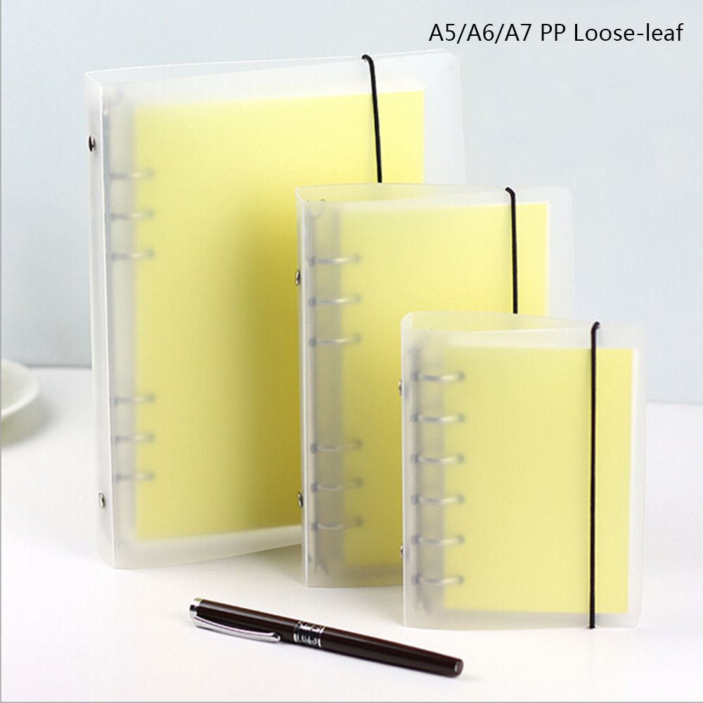 Korean Japanese A567 Frosted Translucent Loose-leaf Planner Notebook Office School Stationery Planner Diario Organizer Notebook a5b5 silver coil pp frosted cover notebook office school papelaria multifunctional organizer diario elastic binder planner