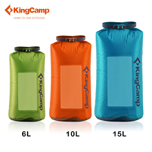 KingCamp Saco Seco Visual de Viaje ultraligera Bolsa Impermeable 30D Cordura tela Bolsa Seca 6L/10L/15L verde/naranja/azul