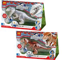 2 Pcs Jurassic World Indominus Rex T. Rex Building Blocks toys Dinosaur Hero Figure compatible with