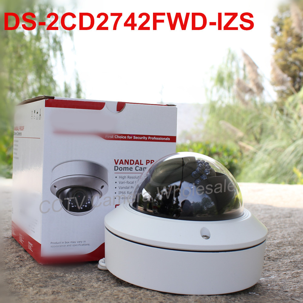 In stock International english version DS-2CD2742FWD-IZS Audio,POE 4MP WDR Vari-focal Motorized Lens Dome Network IP Camera IK10