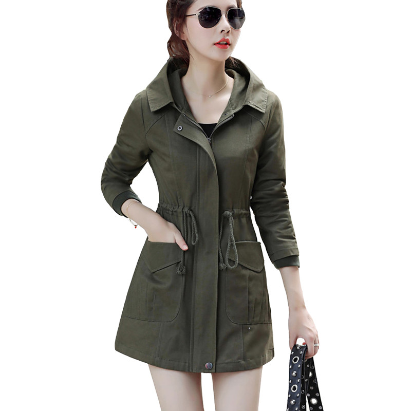 2019 Spring New Windbreaker Femme Women Casual Pocket   Trench   Coat With Elastic Band Medium-long Outerwear Hooded Overcoat L250