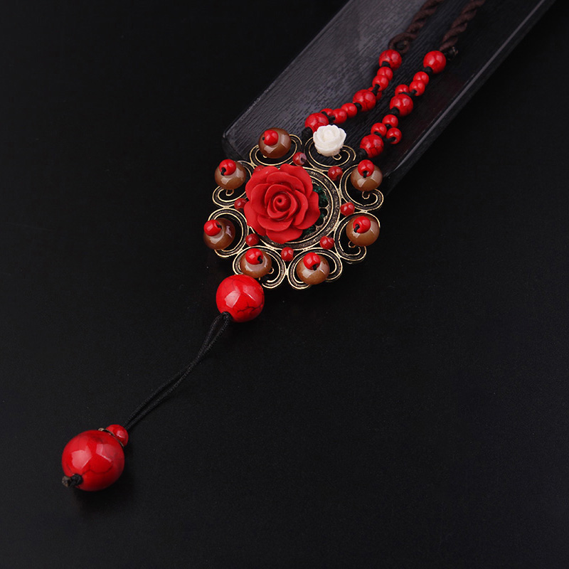 new fashion ethnic necklace,lapis rose flowers pendants necklace vintgae jewelry red glass stones sweater necklace(China)