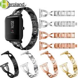 Замена ремешок для Xiaomi Huami Amazfit Bip бит Lite молодежь из нержавеющей SmartWatch носимых наручные 20 мм со стразами ремешок для часов