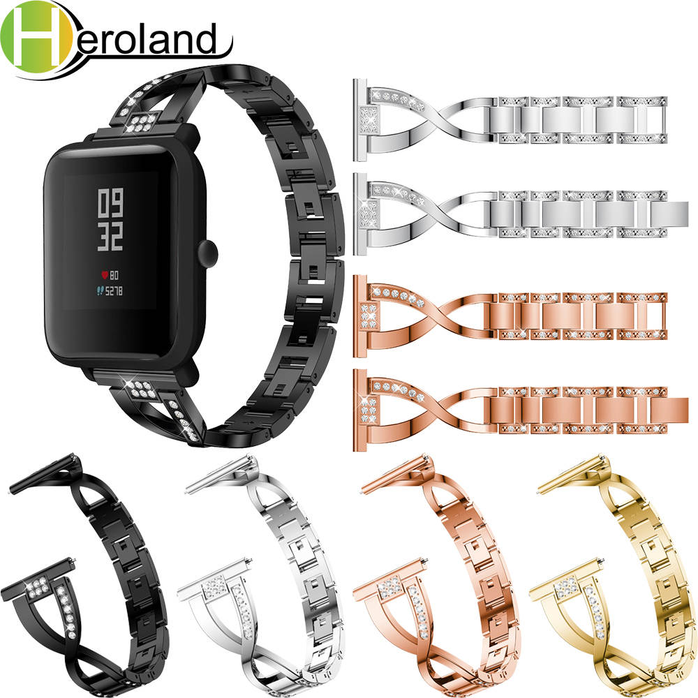 Replacement Strap For Xiaomi Huami Amazfit Bip BIT Lite Youth Stainless SmartWatch Wearable Wrist 20MM Rhinestone Watchband sikai universal 20mm stainless steel watch straps bracelets for huami bip bit pace lite youth watch for xiaomi amazfit bit band