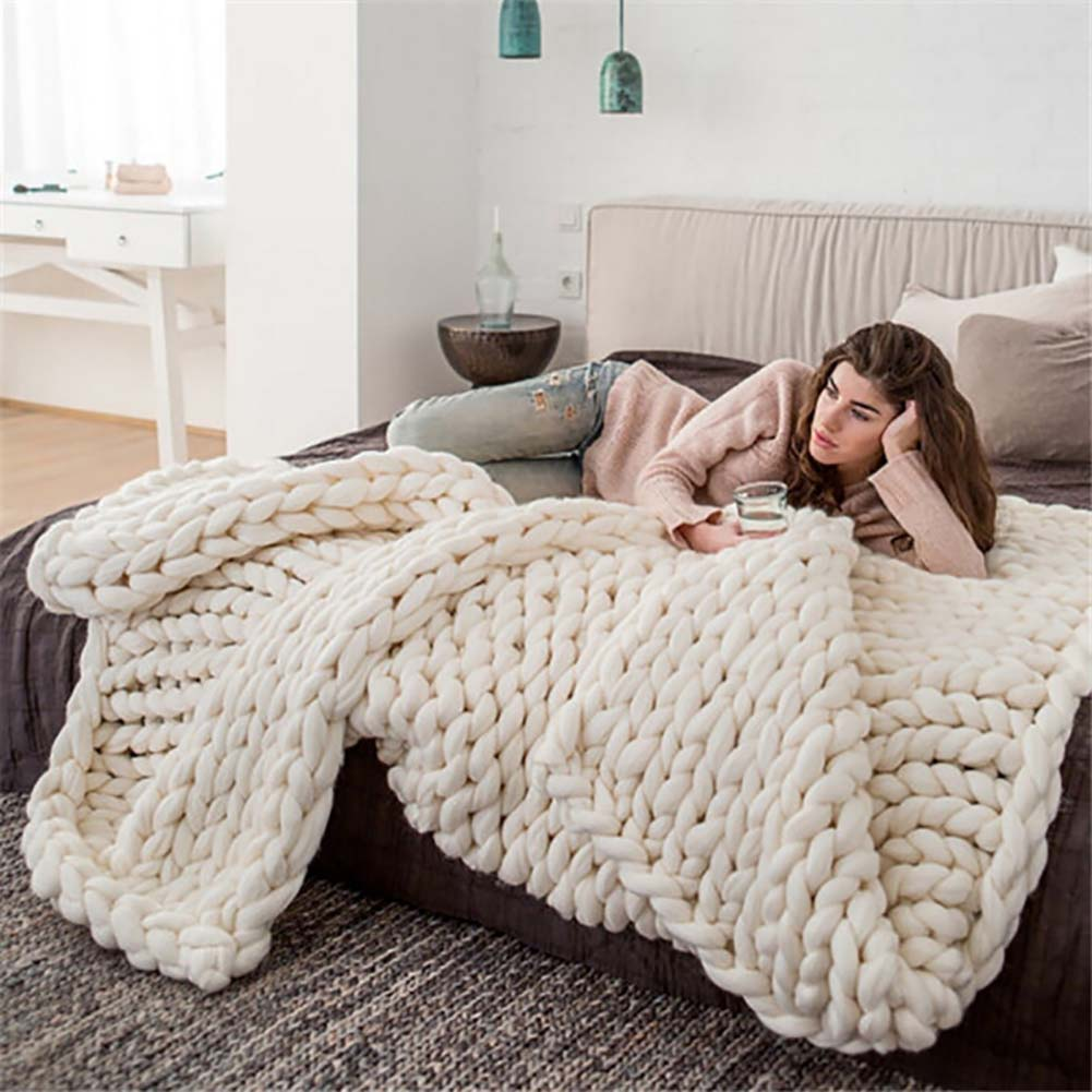 Handmade Chunky Knitted Blanket Thick Yarn Bulky Knitted Blankets Winter Soft Warm Throw For Sofa Bed Home Decor