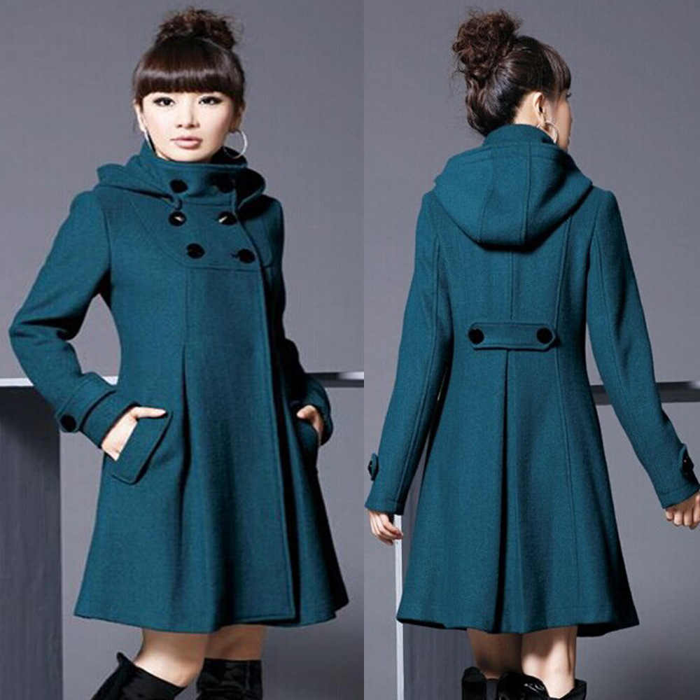 Elegant Coat for Women Pockets Casual Hooded Wool Coat and Jacket Solid Autumn Winter Women Clothes 2018 Plus Size 3XL 4XL