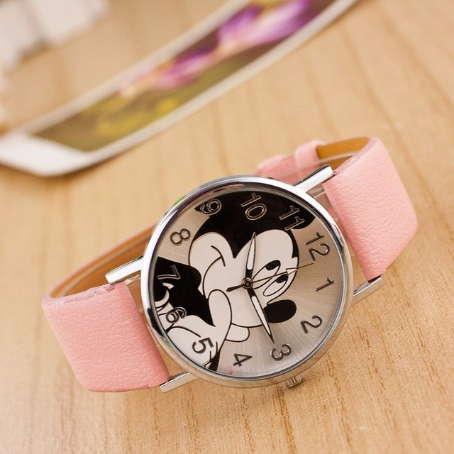 New Watch Women Cartoon Mickey Pattern Fashion Cartoon Girl Watch Women Leather Quartz Wristwatch Kids Children Watches