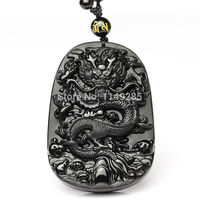 Crafts statue 100% NATURAL OBSIDIAN CRYSTAL PENDANT CARVING Dragon pendant