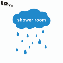 Creative Shower Room Raining Cloud Decorative Wall Sticker Removable Waterproof Bathroom Door Tile Glass Mirror Decal