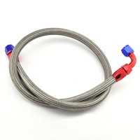 1 Meter AN10 Stainless Steel Oil Hose End Fuel Hose Double Braided Fuel Line Universal Car