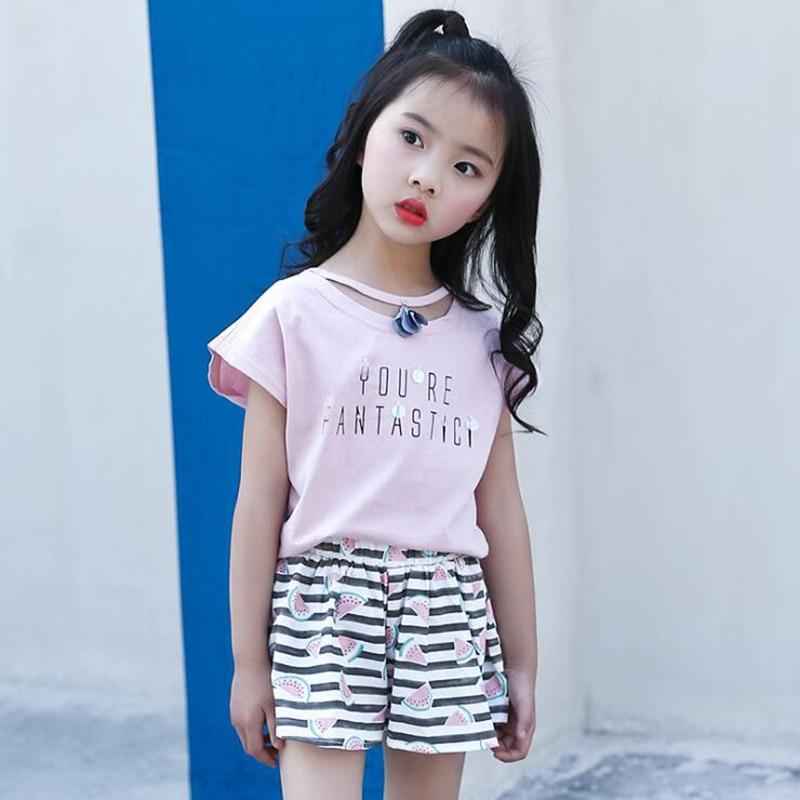 Kid Girls Summer Clothes Sets Floral camiseta + Shorts a rayas 2pcs - Ropa de ninos