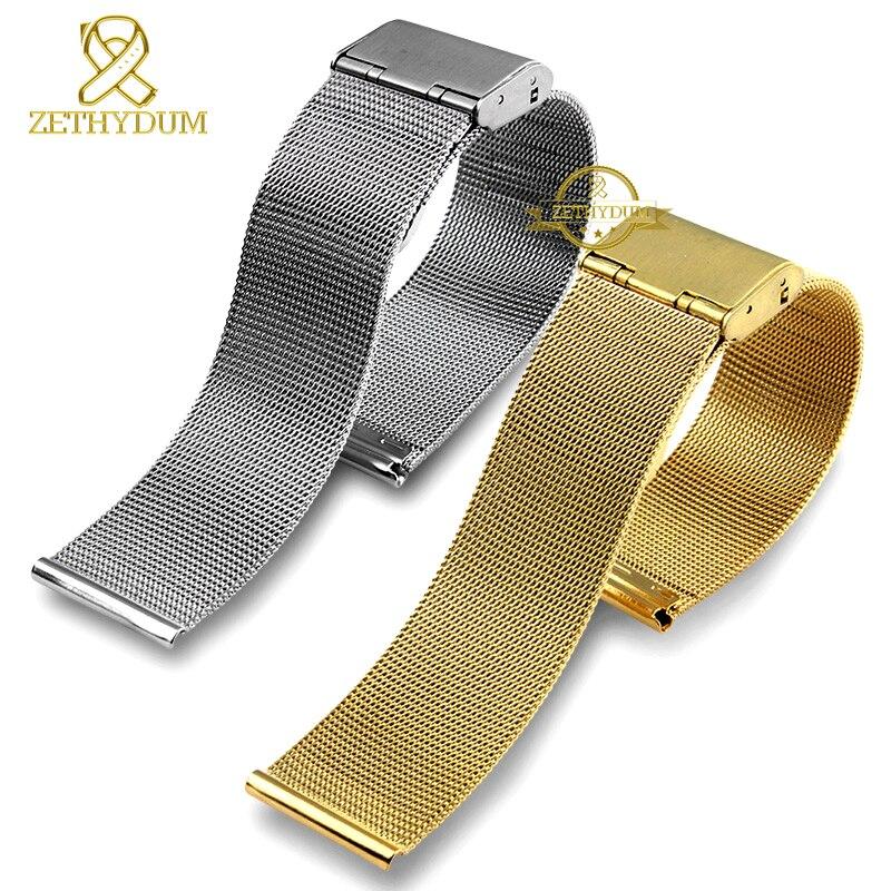 Милан сетки из нержавеющей стали браслет ультратонкие ремешок для часов Ремешок для общего тонкие часы ticwatch женские или мужские брендовые ... ...