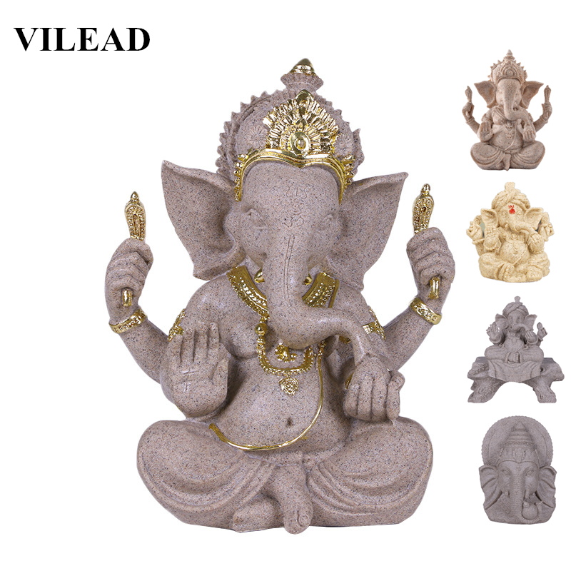 VILEAD Nature Sandstone Indian Ganesha Figurine Religious Hindu Elephant God Statues Fengshui Elephant-Headed Buddha Sculpture