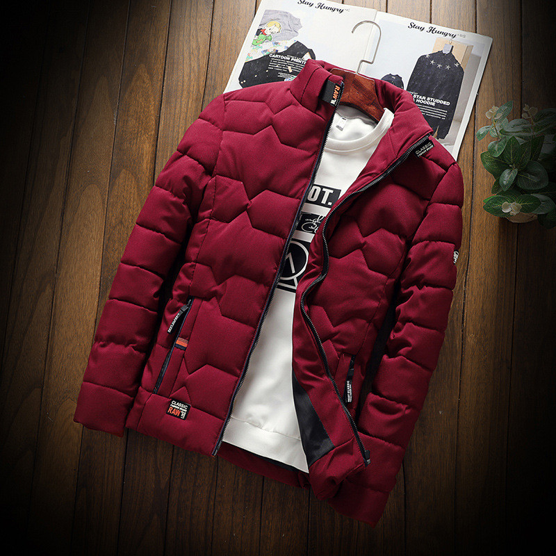 2019 winter New Jacket warm cotton-padded  fashion trend Casual thickened  clothes Slim baseball coats size Down Warm Jacket(China)