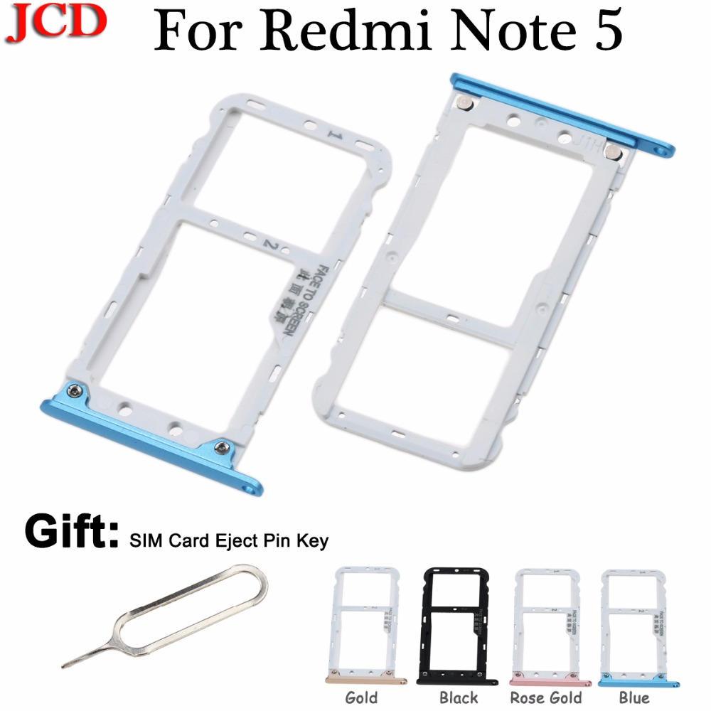 JCD New SIM Card Tray Socket Slot Holder Adapters For Xiaomi for Redmi Note 5 Sim Cards Adapters Phone Replacement Spare Parts