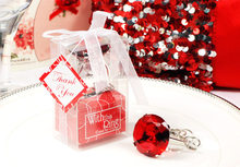 10pcs/lot Wedding Birthday Favors Gifts Acrylic Diamond Crystal Finger Ring Key Chains Key Rings Guest Take-home Favors(China)