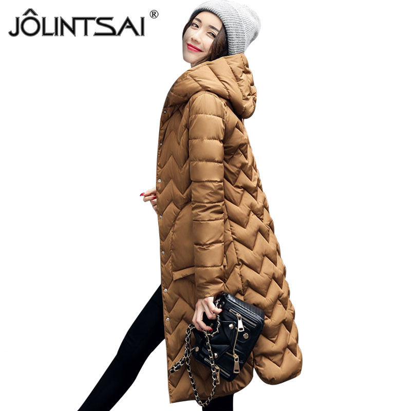JOLINTSAI Winter Coat Women Parka Hooded Cotton Padded Long Coats Winter Jacket Women Manteau Femme Abrigos Mujer Invierno 2017 jolintsai winter jacket women mid long hooded parkas mujer thick cotton padded coats casual slim winter coat women