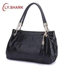 где купить LY.SHARK Genuine Leather Women Handbag Women Shoulder Bag Messenger Bag For Women 2019 Crossbody Bag Ladies Tote Tablets Big по лучшей цене